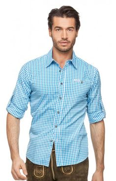 Chequered oktoberfest shirt for men Campos2 turquoise