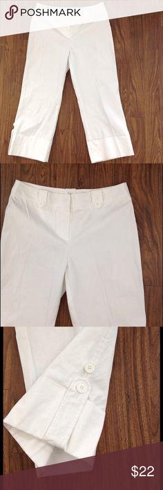 Ann Taylor loft white Capris dress pants cuffed Ann Taylor loft capris. White color. Size 8. Cuffed at the bottom with stylish buttons. Good preowned condition. ann taylor loft Pants Capris
