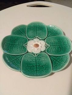 Majolica Plates by Joseph Holdcroft 8 Green Water Lily