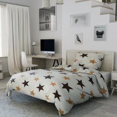 Krepové povlečení hnědé béžové krémové bílé hvězdy hvězdičky moderní amerika Comforters, Blanket, Bed, Furniture, Home Decor, Lily, America, Creature Comforts, Quilts