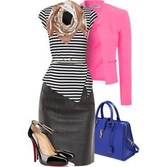 A fashion look from November 2014 featuring sexy tops, pink blazer and pencil skirts. Browse and shop related looks. Blouse And Skirt, Leather Skirt, Blouses, Shoe Bag, Skirts, Polyvore, Stuff To Buy, Shopping, Collection