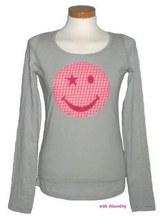 Longsleeves - Langarmshirt, grau, Smiley - ein Designerstück von UL-GlamCity bei DaWanda