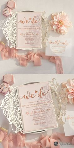 With an exquisite laser cut on silver glittering paper that springs forth and embellishes your foil-pressed words on vellum, this deceptively elegant wedding invitation is not to be overlooked. Blush backer included. Affordable Wedding Invitations, Laser Cut Wedding Invitations, Elegant Wedding Invitations, Blush Wedding Colors, Rose Gold Foil, Wedding Inspiration, Wedding Ideas, Laser Cutting, Wedding Designs