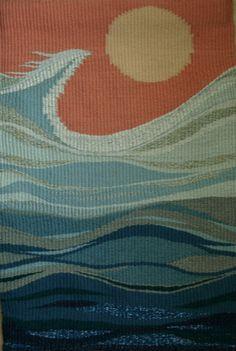 Weaving Textiles, Weaving Art, Loom Weaving, Hand Weaving, Tapestry Loom, Wall Tapestry, Contemporary Tapestries, Peg Loom, Hello Kitty Wallpaper