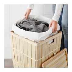 IKEA - BRANKIS, Laundry basket, The plastic feet protect from moisture.You can easily remove the lining if you want to wash it, or use it to carry your laundry to the washing machine.