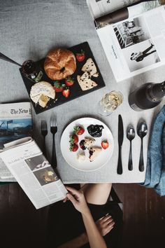 brunch perhaps? num Inspired by The Royals Season 2 airing November on E! Food Styling, Morning Papers, Good Food, Yummy Food, Good Morning Sunshine, Breakfast In Bed, Recipe Of The Day, A Table, Food Photography