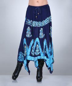 Look at this #zulilyfind! Navy & Light Blue Abstract Floral Handkerchief Skirt - Women by Ananda's Collection #zulilyfinds