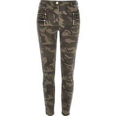 River Island Green camouflage zipped skinny trousers ($39) ❤ liked on Polyvore featuring pants, trousers, cotton twill pants, skinny camo pants, zip pants, skinny pants and camouflage pants