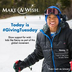 Give today for #GivingTuesday. Make-A-Wish has granted more than 250,000 wishes for children with life-threatening illnesses. Help us bring hope, strength and joy for more kids like Kenny, who wished to see snow at Lake Tahoe - https://wish.org/ways-to-help/giving/donate?cid=PNST-100-GIVINGTUESDAY