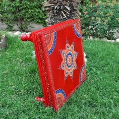 Traditional Style Indian Chowki Wood Side Table Hand Painted Square Red Low Table 18 Inches Wedding Gifts and Decor by HouseOfHandicraft on Etsy Candle Stand, Votive Candle Holders, Love Gifts, Unique Gifts, Bohemian Lighting, Wooden Footstool, Indian Party, Red Candles, Low Tables