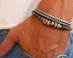 Men's Bracelet Set - Men's Leather Bracelet - Men's Silver Bracelet - Men's Cuff Bracelet - Men's Jewelry - Men's Gift - Present For Men Bracelet Infinity, Bracelet Set, Bracelets For Men, Beaded Bracelets, Leather Bracelets, Stackable Bracelets, Silver Bracelets, Mens Stainless Steel Rings, Marken Logo