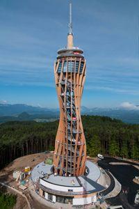 World's highest wooden observation tower (Pyramidenkogel in Carinthia, Austria)