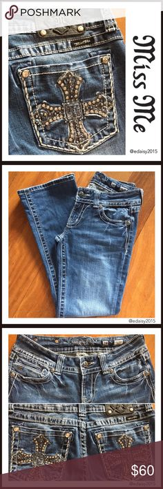 """☄️Flash Sale☄️Miss Me Jeans These bootcut Miss Me jeans are so comfy! They've  been worn by me and are in very good condition; no holes, rips or stains.  Size: 28 Inseam: 30""""  Waist: 14""""  👛 No Trade 🌸 All Offers 🌸 Click The Offer Button 🌷 Smoke Free Home  ✔️Reasonable Offer Miss Me Jeans Boot Cut"""