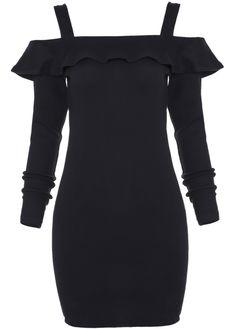 Black Off the Shoulder Ruffle Bodycon Dress 13.00