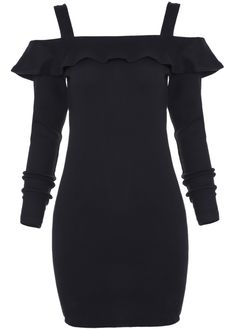 Black Off the Shoulder Ruffle Bodycon Dress 13.00