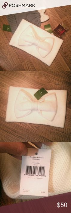 NWT Kate Spade Bow Scarf Neck Warmer NWT Kate Spade Bow Scarf Neck Warmer, cozy and chic! NWT bow beanie hat included in the first photo is also available (listed separately). I would be happy to bundle both together and offers and welcome! kate spade Accessories Scarves & Wraps