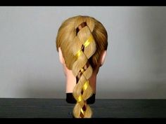 Прическа: Коса из 4-х прядей с лентой. 4 Strand Braid Hair With Ribbon - YouTube
