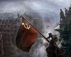 This marks the end of WWII as Russia puts it's Communist flag in the center of Berlin, Germany.
