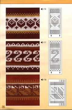 """Photo from album """"жаккарды"""" on Yandex. Fair Isle Knitting Patterns, Crochet Stitches Patterns, Knitting Charts, Knitting Stitches, Knitting Designs, Embroidery Patterns, Paper Embroidery, Doily Patterns, Thread Crochet"""