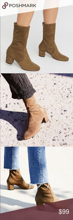Free People North Shore Silent D Sock Boots New NWOT Silent D x Free People North Shore sock boots. Khaki color. Soft stretchy synthetic upper with leather lining. Back zip. ~2 inch heel. Size 38. Free People Shoes Heeled Boots