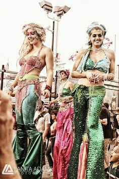 Mermaid Parade IMG_7372-Edit (color) by Quirky NY Chick, via Flickr Stilt Costume, Mermaid Parade, Princess Zelda, Big Top, Costumes, Mermaids, Fairytale, Walking, Fantasy