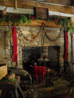 primitive christmas decorations | Primitive Christmas Ideas~ / Love the fireplaces!