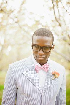 Seersucker and pink bow tie