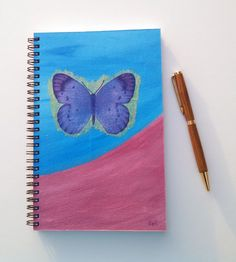 FREE SHIPPING; Spiral bound notebook/journal for writing, sketching, doodling; Hand Painted and Collaged Cover; Diary with a bit of art