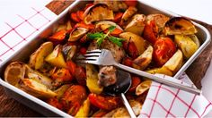Mediterranean roast - chicken drumsticks/thighs roasted with potatoes, tomatoes, capsicum, garlic, onion and a lemon