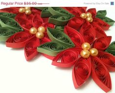 Paper Ornament Poinsettia Paper Quilled in Bright Holiday Red - Pearl Centers
