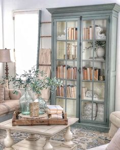 39 rustic farmhouse living room design and decor ideas for your home 13 – Hazir Site Home Living Room, Living Room Designs, Living Room Hutch, Bookcase In Living Room, Cottage Style Living Room, Living Room Cabinets, Living Area, Earth Tone Living Room Decor, Southern Living Rooms