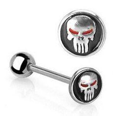 Lengua Barbell Skull and Crossbones logotipo quirúrgica acero Piercing Bar 14g 16mm
