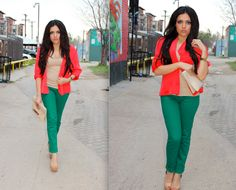 green pants, with red