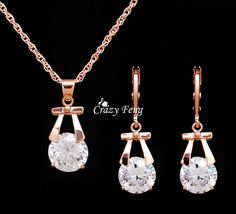 Hot Sale Wedding Jewelry Sets Gold Plated Drop Earrings Necklace For Women Party Set CZ Crystal Jewelry