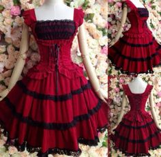 An adorable red and black lace and ruffle lolita dress.