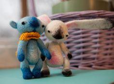 bear and rabbit felt dolls #doll #felt #bear #rabbit #hare