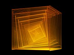 Leroy Lamis, Construction No. 223 Yellow twisted Plexiglas, x 32 x 32 cm. Geometric Sculpture, Glass Boxes, Light Installation, Light Art, Design Art, Contemporary Art, Street Art, Sculptures, Storage Cubes