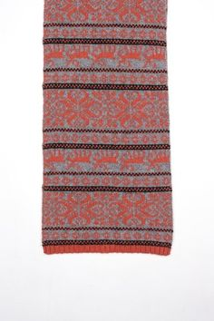 coral + grey reindeer scarf