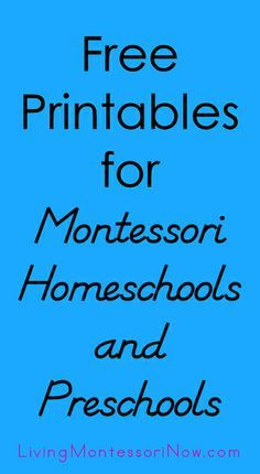 Places to find free printables for Montessori homeschools, preschools, and co-ops along with ways to use printables to create Montessori-inspired activities.