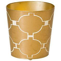 Worlds Away Acadia Gold Wastebasket WAWBACADIAGL