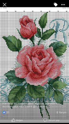 Flores Cross Stitch Boards, Cute Cross Stitch, Cross Stitch Rose, Cross Stitch Flowers, Wedding Cross Stitch Patterns, Modern Cross Stitch Patterns, Cross Stitch Designs, Cross Stitching, Cross Stitch Embroidery