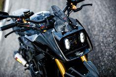 """Triplespeed Suzuki """"Tsurugi"""" re-interpreta la Katana Street Fighter Motorcycle, Motorcycle Headlight, Scrambler Motorcycle, Motorcycle Style, Bike Style, Motorcycle Design, Bike Design, Suzuki Gsx, Suzuki Sv 650"""