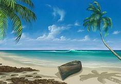 Paradijs, Schilderen, Strand, Vakantie
