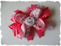 Pink & red  Hello Kitty  Hair Bow Clip by sugarnspicebow on Etsy, $5.99