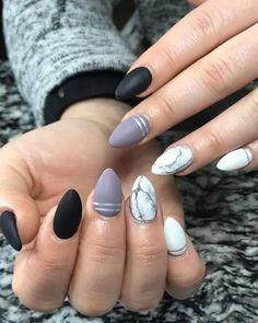 Square Nail Designs, Marble Nail Designs, Nail Art Designs, Nailart Glitter, Glitter Accent Nails, Black Ombre Nails, Red Nails, Fall Nails, Silver Nails