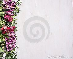 Beautiful Freesya Multicolored Flowers With Green Leaves Border ,place For Text  Wooden Rustic Background Top View Stock Photo - Image: 68277362