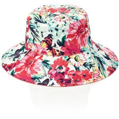 Add a splash of colour to your casual summer look with this floppy hat, adorned with a bright flower and butterfly print.