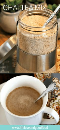 Enjoy a steamy, spicy mug of chai tea flavored with cinnamon, cloves, ginger, and cardamom. Mix up a batch of instant Chai Tea Mix and skip the coffee shop! Tea Mix Recipe, Chai Recipe, Latte Recipe, Recipe Gift, Instant Chai Tea Recipe, Chai Tea Concentrate Recipe, Planning Menu, Good Food, Yummy Food