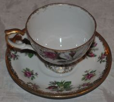 Napco Hand Painted  China Tea cup and Saucer Rose and flowers