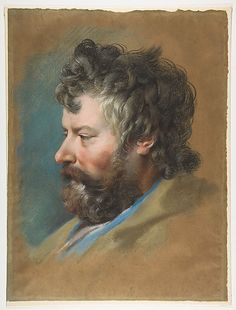 Head of a Bearded Man in Profile to Left François Le Moyne - 18th century.